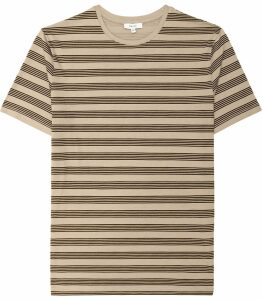 Reiss Flintoff - Striped Crew Neck T-shirt in Light Taupe, Mens, Size XXL