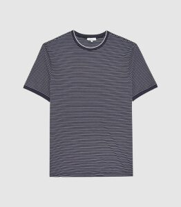 Reiss Greenwich - Striped Crew Neck T-shirt in Navy/white, Mens, Size XXL