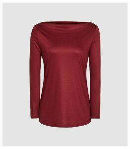 Reiss Marilyn - Straight Neck Top in Berry, Womens, Size XL