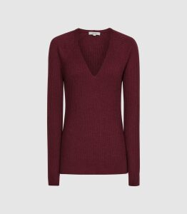 Reiss Elouise - Ribbed V-neck Jumper in Berry, Womens, Size XXL