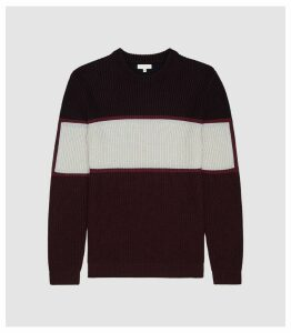 Reiss Bano - Colour Block Crew Neck Jumper in Bordeaux, Mens, Size XXL