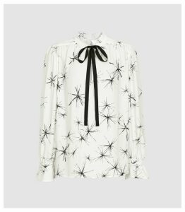 Reiss Maeve Print - Star Printed Blouse With Embellishment in White, Womens, Size 18