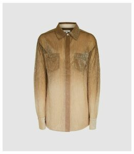 Reiss Frida - Semi Sheer Metallic Blouse in Gold, Womens, Size 16