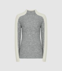Reiss Ciara - Colour Block High Neck Jumper in Grey, Womens, Size XL