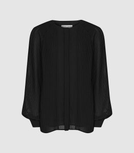 Reiss Editha - Pleat Detailed Blouse in Black, Womens, Size 16