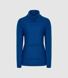 Reiss Shea - Textured Rollneck Jumper in Cobalt Blue, Womens, Size XL