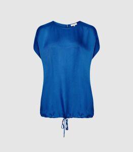 Reiss Maggie - Textured Satin T-shirt in Cobalt Blue, Womens, Size 16