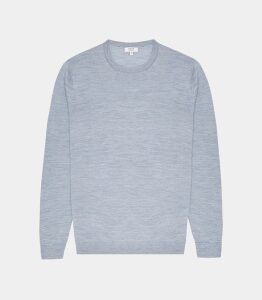 Reiss Wessex - Merino Wool Jumper in Soft Blue Melange, Mens, Size XXL