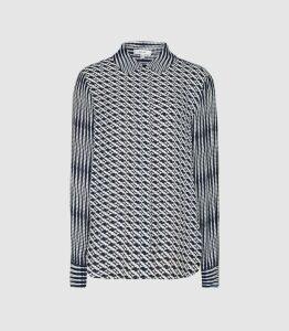 Reiss Livvy - Diamond Printed Shirt in Navy, Womens, Size 16