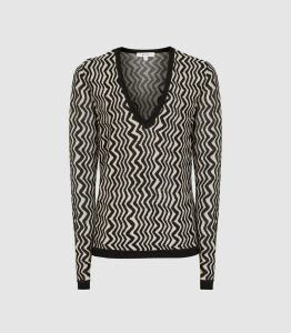 Reiss Mali - Zig-zag V-neck Jumper in Black/ White, Womens, Size XXL