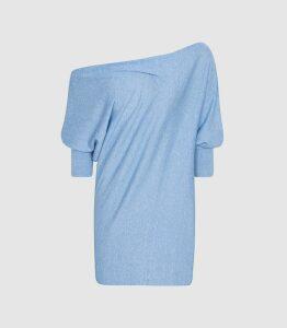 Reiss Flo - Linen Cotton Blend Asymmetric Top in Aqua, Womens, Size XL