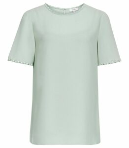 Reiss Stella - Lace Trim Top in Pale Green, Womens, Size 14