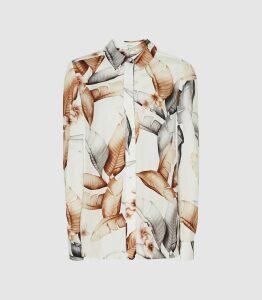 Reiss Leeta - Leaf Print Blouse in White, Womens, Size 16