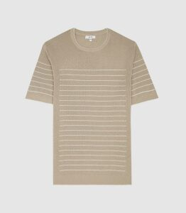 Reiss Regis - Striped Cotton Knitted Top in Taupe, Mens, Size XXL