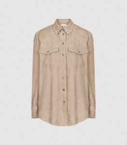 Reiss Sia - Suede Shirt in Soft Pink, Womens, Size 16