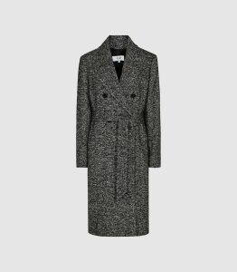 Reiss Madelyn - Boucle Longline Coat in Multi, Womens, Size 14
