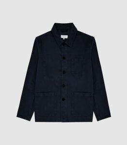 Reiss Conley - Casual Worker Jacket in Navy, Mens, Size XXL