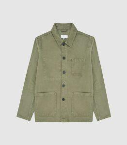 Reiss Conley - Casual Worker Jacket in Green, Mens, Size XXL