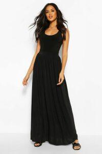 Womens Basic Slinky Floor Sweeping Maxi Skirt - Black - 16, Black