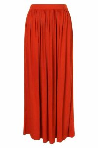 Womens Basic Floor Sweeping Jersey Maxi Skirt - Orange - 14, Orange
