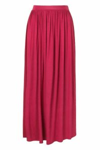 Womens Basic Floor Sweeping Jersey Maxi Skirt - Pink - 6, Pink