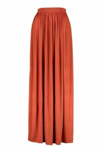 Womens Basic Floor Sweeping Jersey Maxi Skirt - Orange - 16, Orange