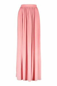Womens Basic Floor Sweeping Jersey Maxi Skirt - Pink - 16, Pink