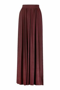 Womens Basic Floor Sweeping Jersey Maxi Skirt - Red - 14, Red
