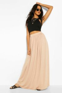 Womens Floor Sweeping Jersey Maxi Skirt - Beige - 14, Beige