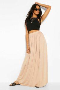 Womens Floor Sweeping Jersey Maxi Skirt - Beige - 14, Beige