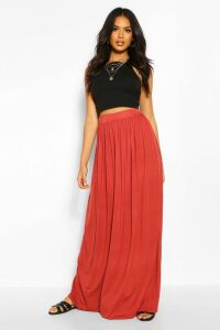 Womens Floor Sweeping Jersey Maxi Skirt - Red - 14, Red
