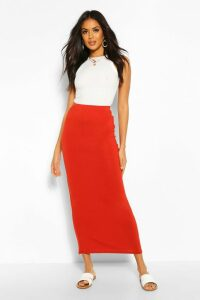 Womens Basic Contrast Waist Jersey Maxi Skirt - Orange - 16, Orange