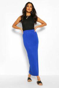 Womens Basic Contrast Waist Jersey Maxi Skirt - Blue - 14, Blue