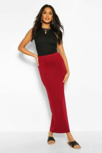 Womens Basic Contrast Waist Jersey Maxi Skirt - Red - 14, Red
