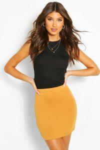 Womens Basic Jersey Mini Skirt - Yellow - 14, Yellow