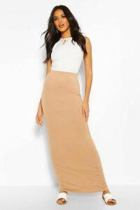 Womens Basic Contrast Waist Jersey Maxi Skirt - Beige - 12, Beige