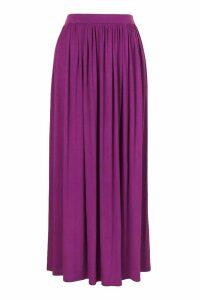 Womens Basic Floor Sweeping Jersey Maxi Skirt - Purple - 12, Purple