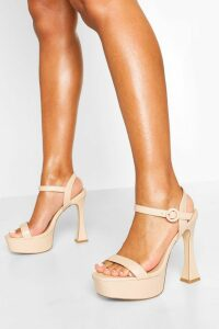 Womens Platform Peepoe Stiletto Heels - Beige - 8, Beige