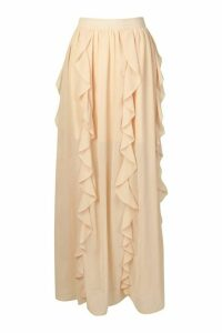 Womens Ruffle Detail Chiffon Maxi Skirt - Beige - 16, Beige