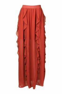 Womens Ruffle Detail Chiffon Maxi Skirt - Red - 16, Red