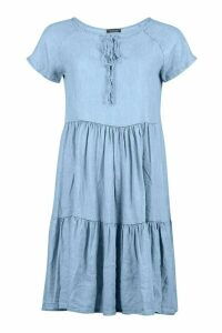 Womens Chambray Tierred Smock Dress - Blue - 6, Blue