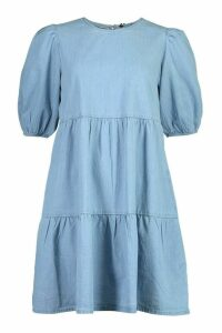 Womens Denim Tierred Smock Dress - Blue - 10, Blue