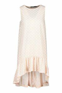 Womens Polka Dot Ruffle Hem Shift Dress - Pink - 14, Pink