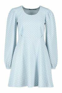 Womens Polka Dot Skater Dress - Blue - 8, Blue