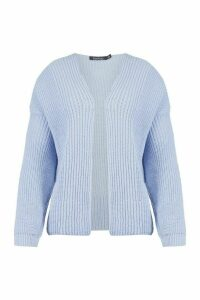 Womens Oversized Rib Cropped Cardigan - Blue - M, Blue