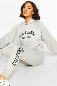 Womens California West Coast Crop Hoodie Tracksuit - Grey - 10, Grey