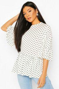 Womens Polka Dot Frill Peplum Top - White - 16, White