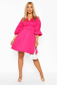 Womens Plus Volume Sleeve Wrap Skater Dress - Pink - 18, Pink