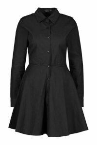 Womens Button Through Shirt Skater Dress - Black - 16, Black