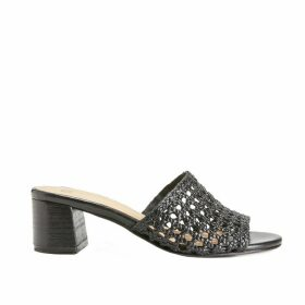 Leather Openwork Weave Mules